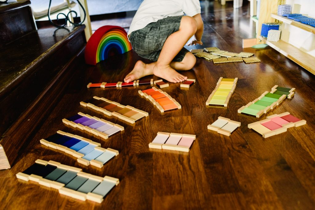 Montessori colour tablets on the floor