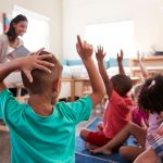 How To Start The School Year In The Best Way Possible- children raising their hands in a classroom with a smiling teacher